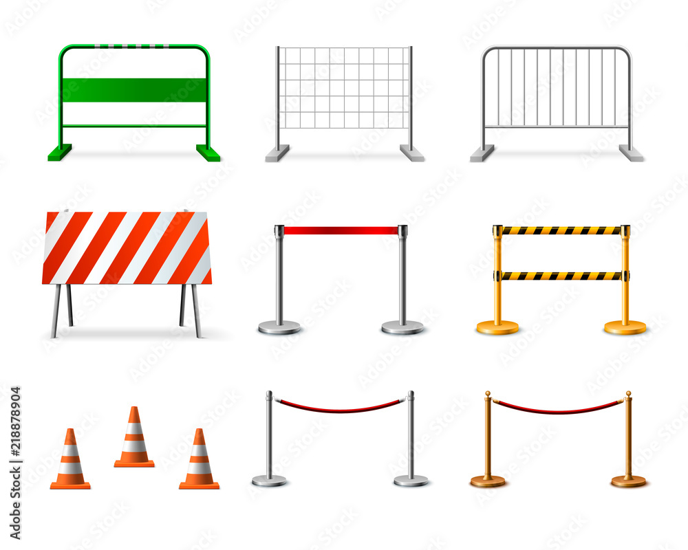 Fototapeta Temporary Fencing Barrier Realistic Icon Set