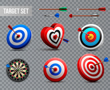 Realistic Target Transparent Icon Set
