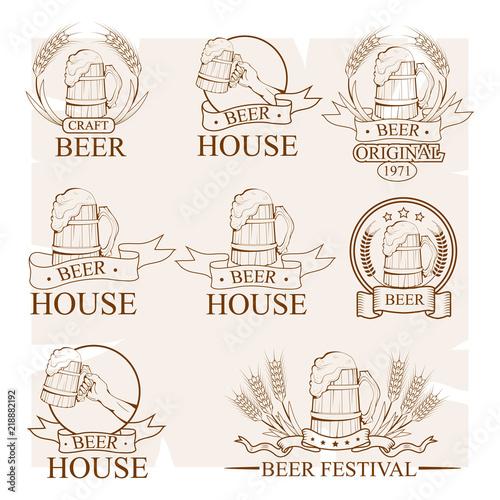 mug of beer, beer logo, alcoholic emblem, various logo of cooling drink, set of Wallpaper Mural
