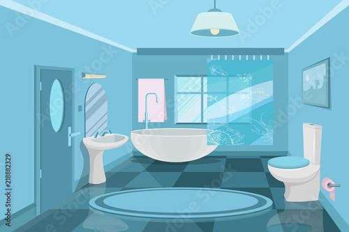 Bathroom Interior Modern 3d Bathroom Design Interior Of The Room In Blue Elements For Creating A Bathroom Shower Room Flat Design Vector Graphics To Design Buy This Stock Vector And Explore