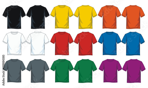 Obraz Colorful blank t shirt, Front look and back. - fototapety do salonu