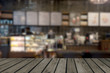 wood table top Blurred coffee shop