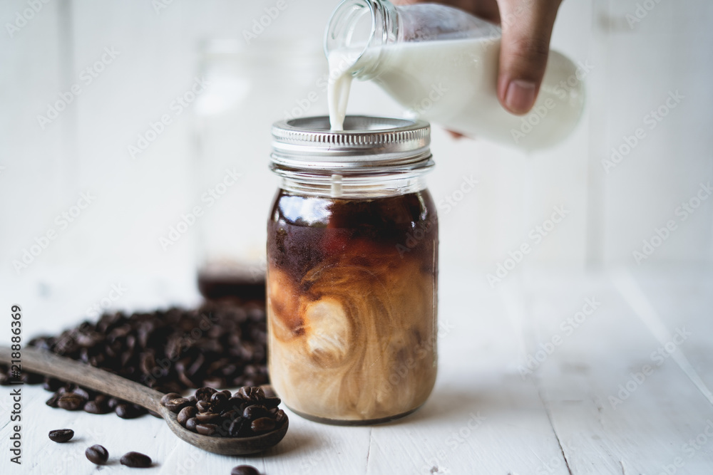 Cold brew coffee Arabica coffee In a glass bottle