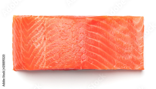 piece of raw salmon fillet isolated on white background Fototapete