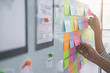 canvas print picture - Web designer brainstorming for a strategy plan. Colorful sticky notes with things to do on office board. User experience (UX) concept.