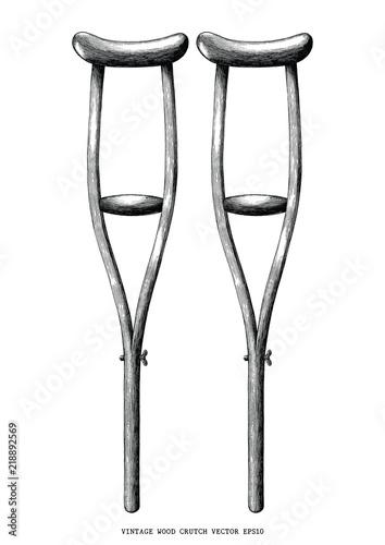 Slika na platnu Vintage wood crutch hand draw clip art isolated on white background