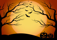 Halloween Vector Background With Dark Bat, Moon And Tree Silhouette Style Of Sunset Orange Light