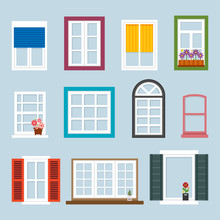 Various Kind Of Windows. Flat Design Style Vector Graphic Illustration Set