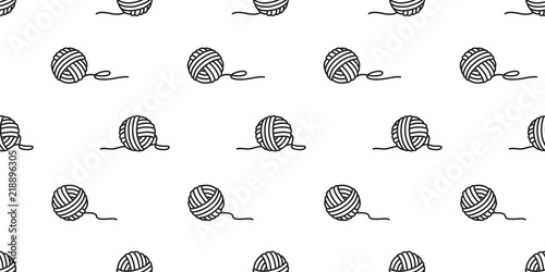 Fototapeta yarn ball seamless pattern vector balls of yarn knitting needles background wall