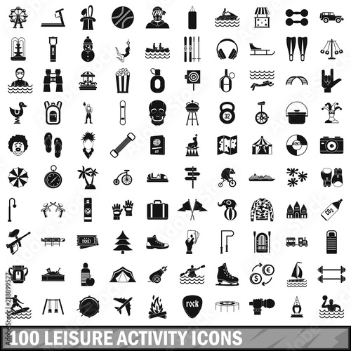 Fényképezés 100 leisure activity icons set in simple style for any design vector illustratio
