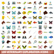 100 veterinary exploration icons set in flat style for any design vector illustration