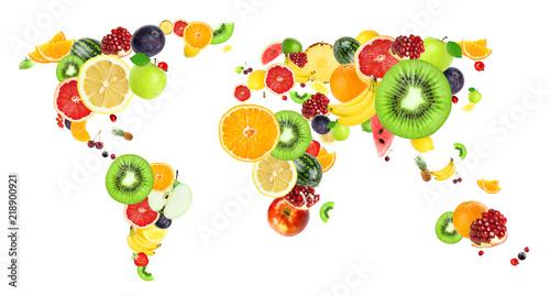 Fototapeta owoce owocowa-mapa-swiata