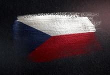Czech Republic Flag Made Of Metallic Brush Paint On Grunge Dark Wall