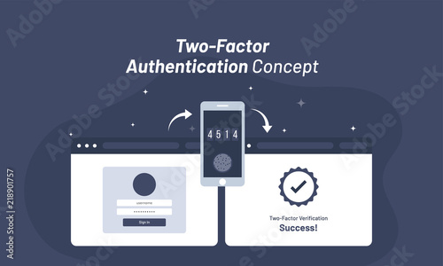 Photo  Account login from web browser, confirmation code received in mobile, after entering code successful access for Two-Factor Authentication concept