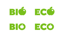 BIO And ECO Badges, Vector Illustration. Nutrition Badge Or Logo. Ready To Be Used As An Icon Or Label On Package, Box Or Bag.