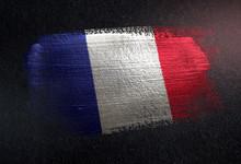 France Flag Made Of Metallic Brush Paint On Grunge Dark Wall