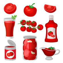 Flat Vector Set Of Tomato Food And Drinks. Healthy Juice, Ketchup And Sauce, Canned Products. Natural And Tasty Products