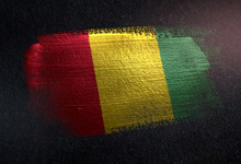 Guinea Flag Made Of Metallic Brush Paint On Grunge Dark Wall