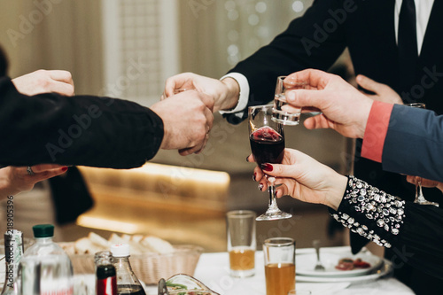 Corporate Business Man Toasting At Dinner Party Table Hands Close Up