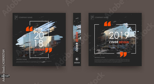 Fototapeta Abstract patch brochure cover design. Black info data banner frame. Techno title sheet model set. Modern vector front page art. Urban city blurb texture. Orange citation figure icon. Ad flyer text obraz