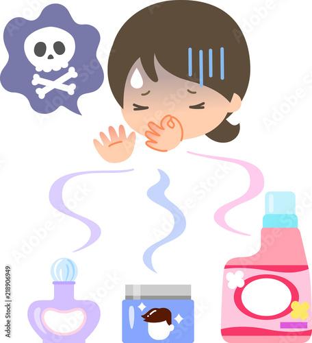 Obraz 香水や柔軟剤の匂いで気分が悪くなる女性 - fototapety do salonu