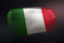 Italy Flag Made Of Metallic Brush Paint On Grunge Dark Wall