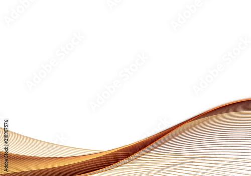 Staande foto Fractal waves Golden brown fractal wave on white background
