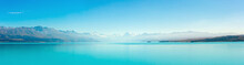 Panoramic At Lake Pukaki And Mt. Cook As A Background