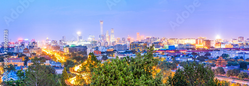 Photo sur Toile Pekin Beautiful city skyline and modern buildings in Beijing at night
