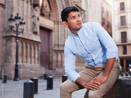 Foto  portrait of man in European city