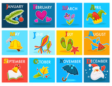 Calendar Cartoon Design With Seasonal Holidays Symbols. Vector W
