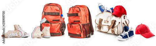 Obraz Backpack and sport bag set. - fototapety do salonu