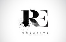 RE R E Letter Logo Design With Black Ink Watercolor Splash Spill Vector.