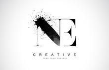 NE N E Letter Logo Design With Black Ink Watercolor Splash Spill Vector.