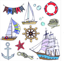 Vector Drawings About The Sea,...