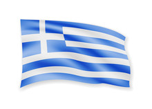 Waving Greece Flag On White. F...
