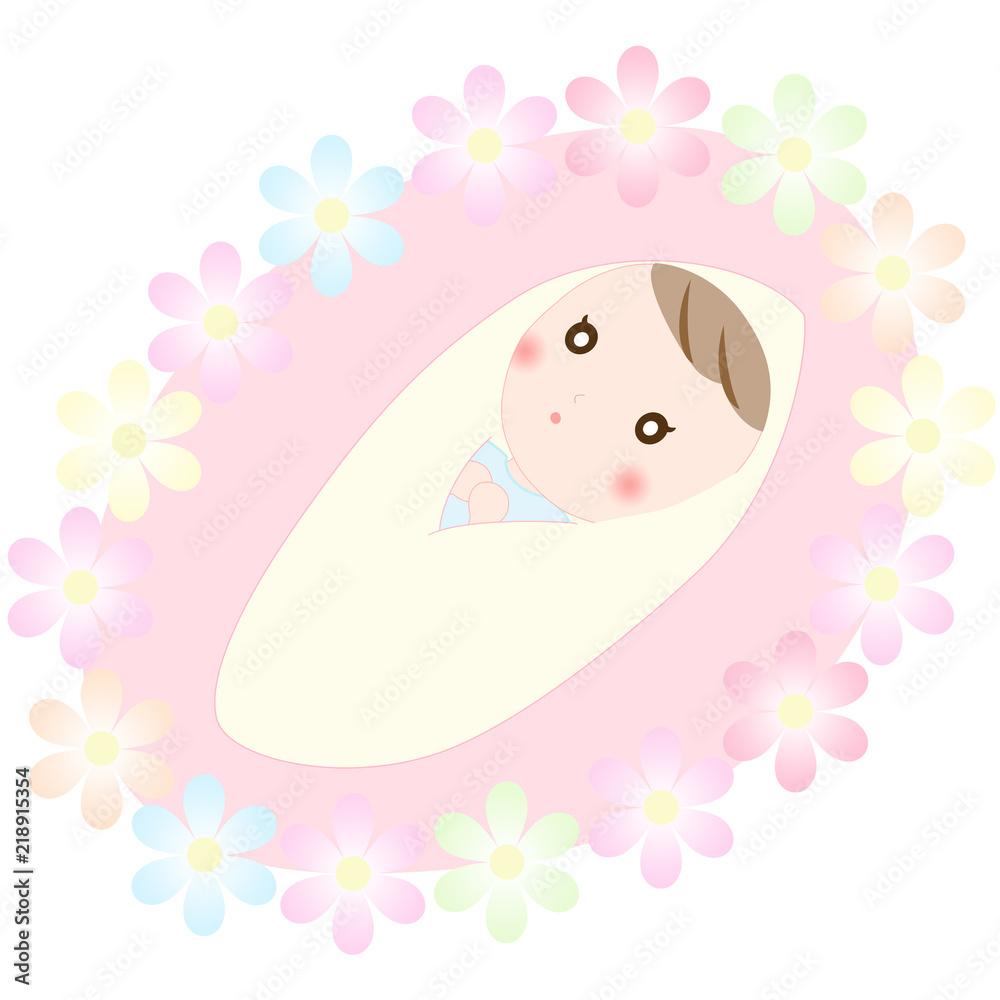 Fototapeta お花と赤ちゃん おくるみ