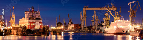 Fotografía industrial areas of the shipyard in Szczecin in Poland,high resolution panorama