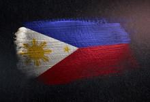 Philippines Flag Made Of Metallic Brush Paint On Grunge Dark Wall