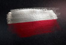 Poland Flag Made Of Metallic B...