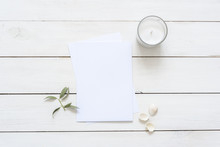 Modern Flat Lay With Card Blank Space, Stationary, Candle, Seashells, Leaves. Ready To Insert Your Text, Invitation, Wedding Or Logo. Best For Social Media, Backgrounds, Headers, Blogs, Wedding