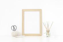 Wood Frame Mockup A4 In Interior.Vintage Items, Transparent Vase. Frame Mock Up Poster Or Photo Frame For Bloggers, Social Media, Lettering, Art And Design. Background. Good Buy Summer
