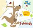 Vector cartoon of kangaroo with little friends