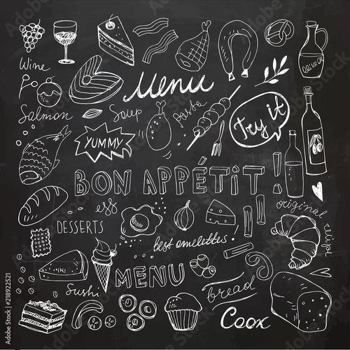 Plakaty do jadalni restaurant-doodle-set-hand-drawn-vector-illustration-chalk-drawing-bon-appetit-food-collection