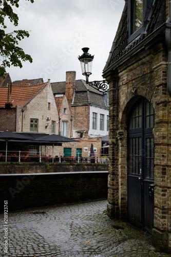 Foto op Canvas Brugge Cityscape of Flanders, BRUGES, Belgium BELGIUM - 30 April 2018. Water canal in Bruges.