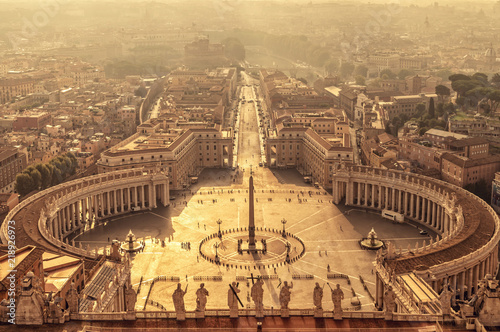 Poster Rome Aerial view of St Peter's square in Vatican, Rome Italy