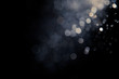 canvas print picture - bokeh of water fly and lights on black background,