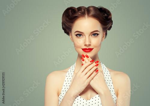 Pinup woman beauty portrait vintage retro girl model in polka dot dress Wallpaper Mural