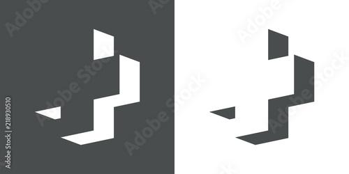 Fotomural Icono plano cruz 3D espacio negativo en gris y blanco