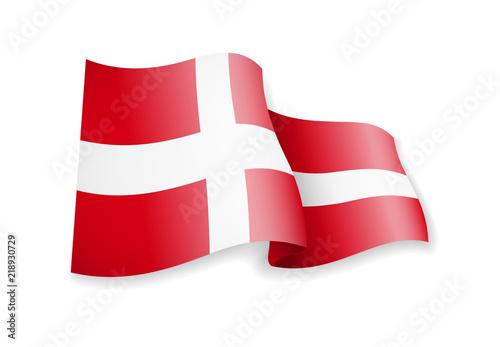 Obraz Waving Denmark flag on white background. - fototapety do salonu